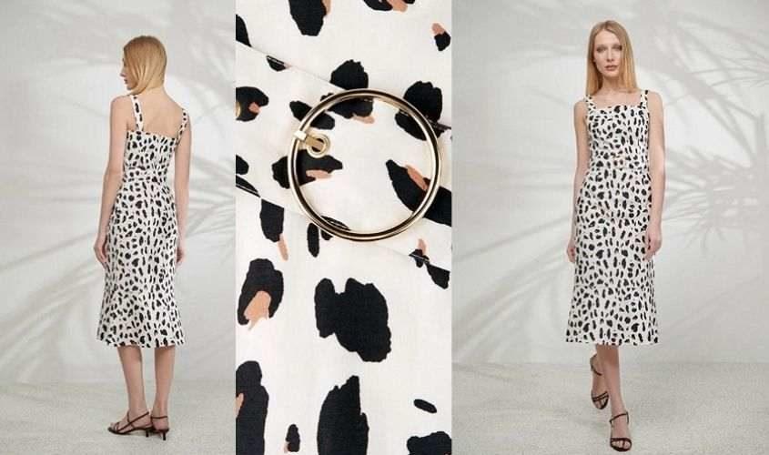 Платье белое с принтом